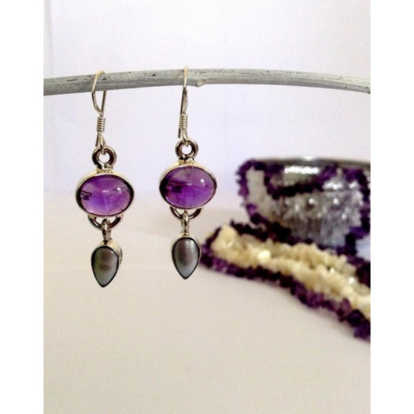 Gemstone and pearl double drop earring