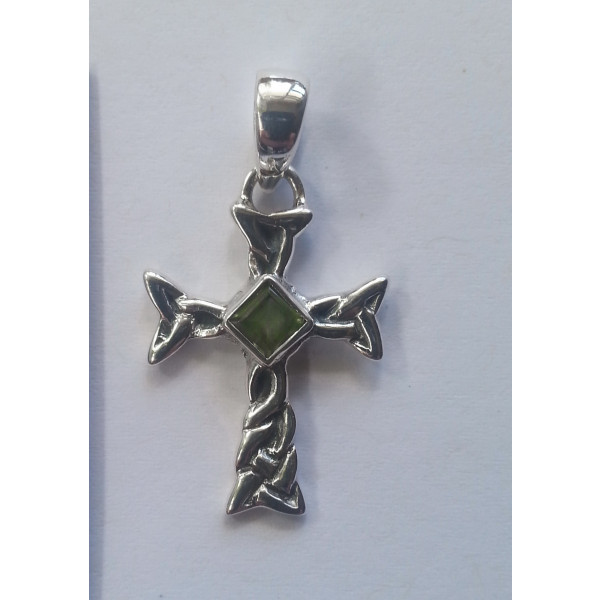 Celtic cross sterling silver pendant with square facet gemstone