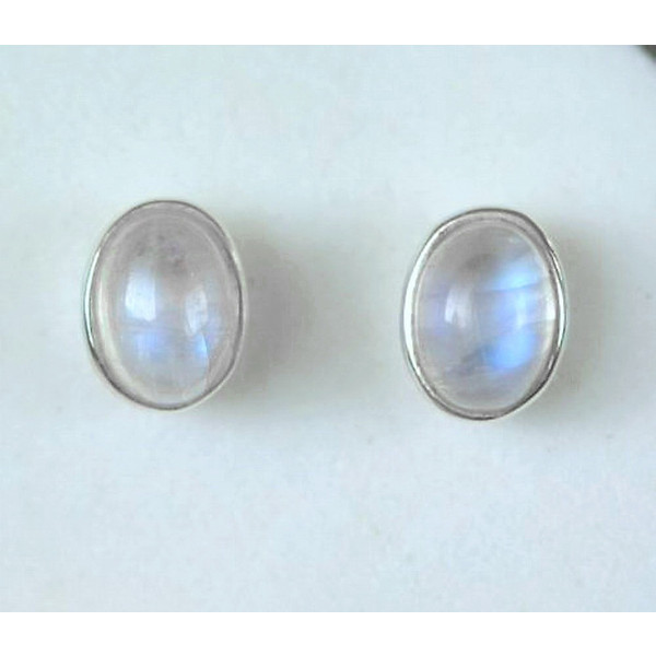 E028q  5 x 7 mm gemstone stud sterling silver earrings