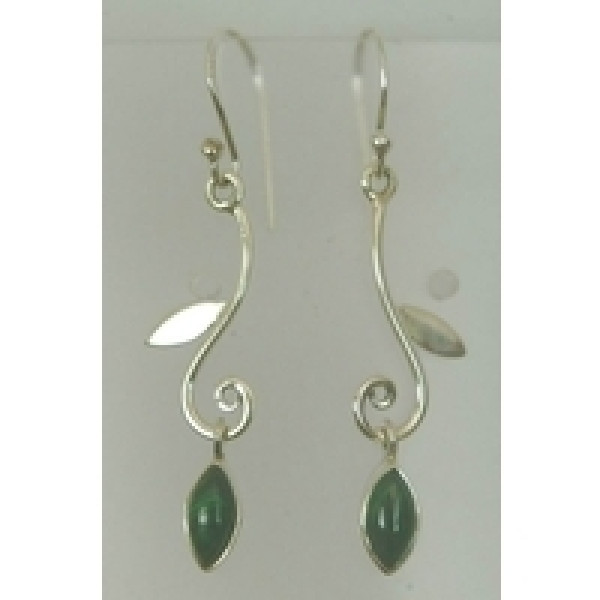 30mm drop earring in branch design with single leaf shaped gemstone
