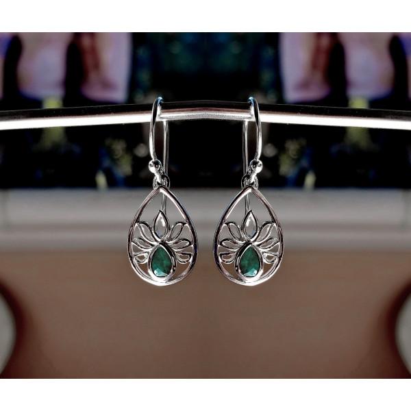 lotus flower design with faceted gemstone earrings