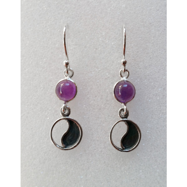 6mm genuine gemstone drop earring with yin yang sterling silver charm