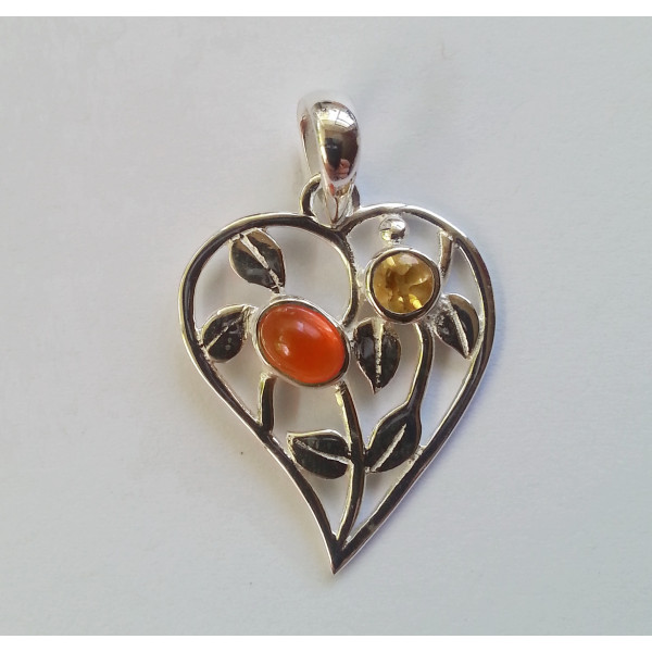 Heart shaped with 2 natural gemstones set in sterling silver