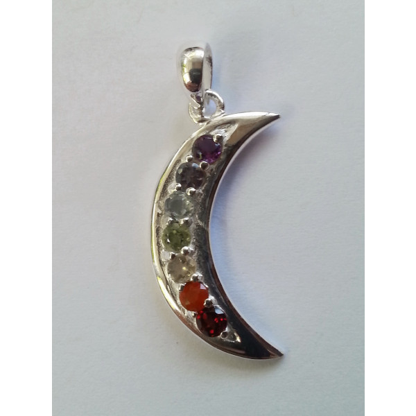 7 gemstone chakra moon sterling silver pendant
