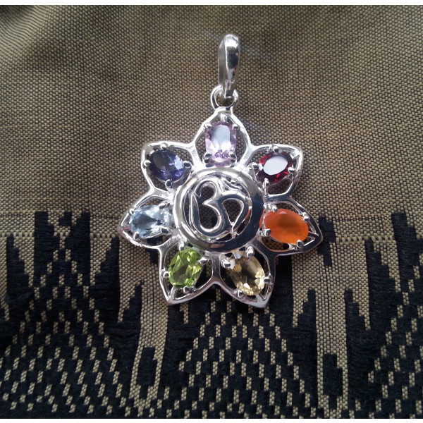 flower with om and chakra gemstones pendant