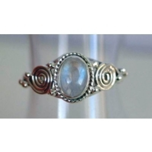R081 Sweet sterling silver ring with 6 x 8 gemstone