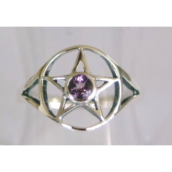 R534 pentagram ring with faceted stone centre