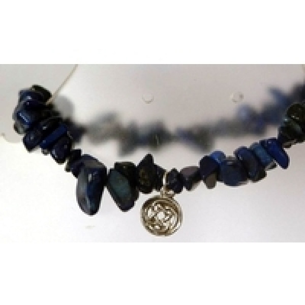 semi precious gemstone chip bracelet adorned with sterling silver celtic round charm