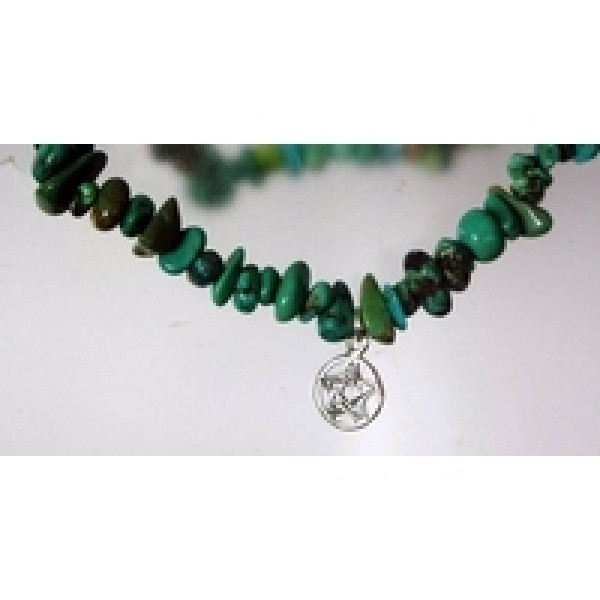 semi precious gemstone chip bracelet with sterling silver pentagram charm