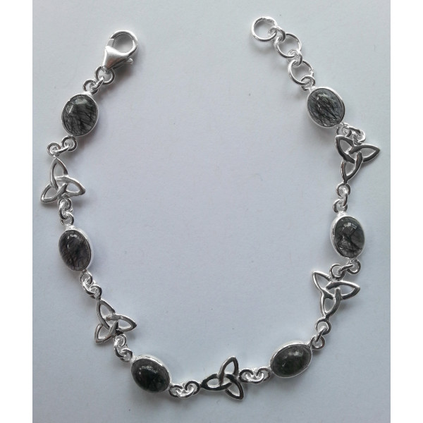 Sterling silver triquetra bracelet with gemstones
