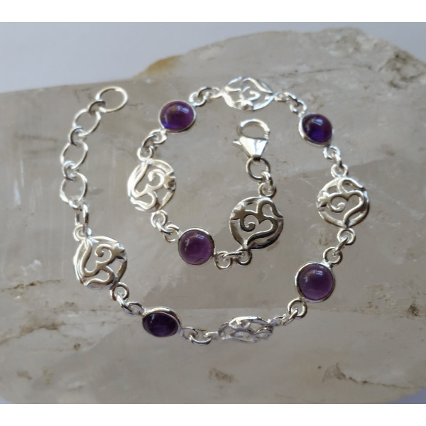 Om bracelet with 6 x 6 mm semi precious gemstones